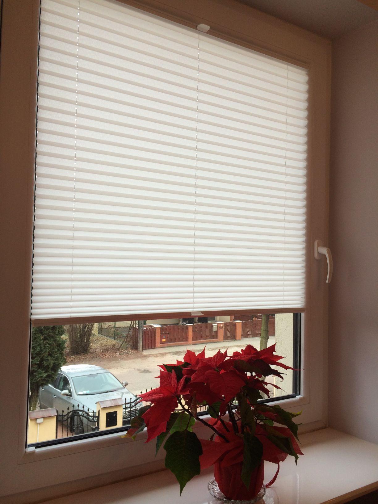 plisa okienna w jasnym kolorze