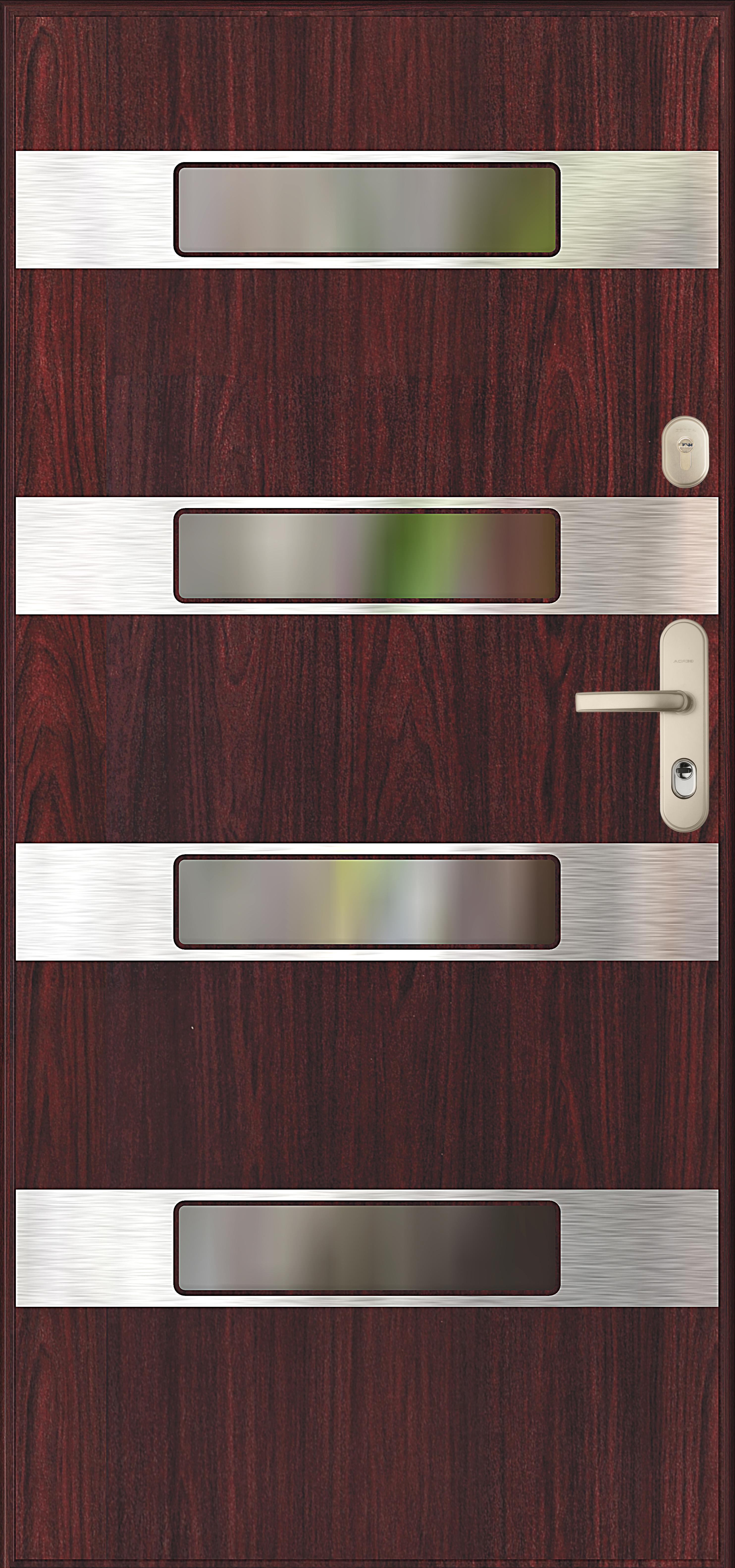 drzwi Gerda wzór SEVILLA, wejściowe zewnętrzne antywłamaniowe klasy RC2, z poziomymi przeszkleniami i ramkami inox