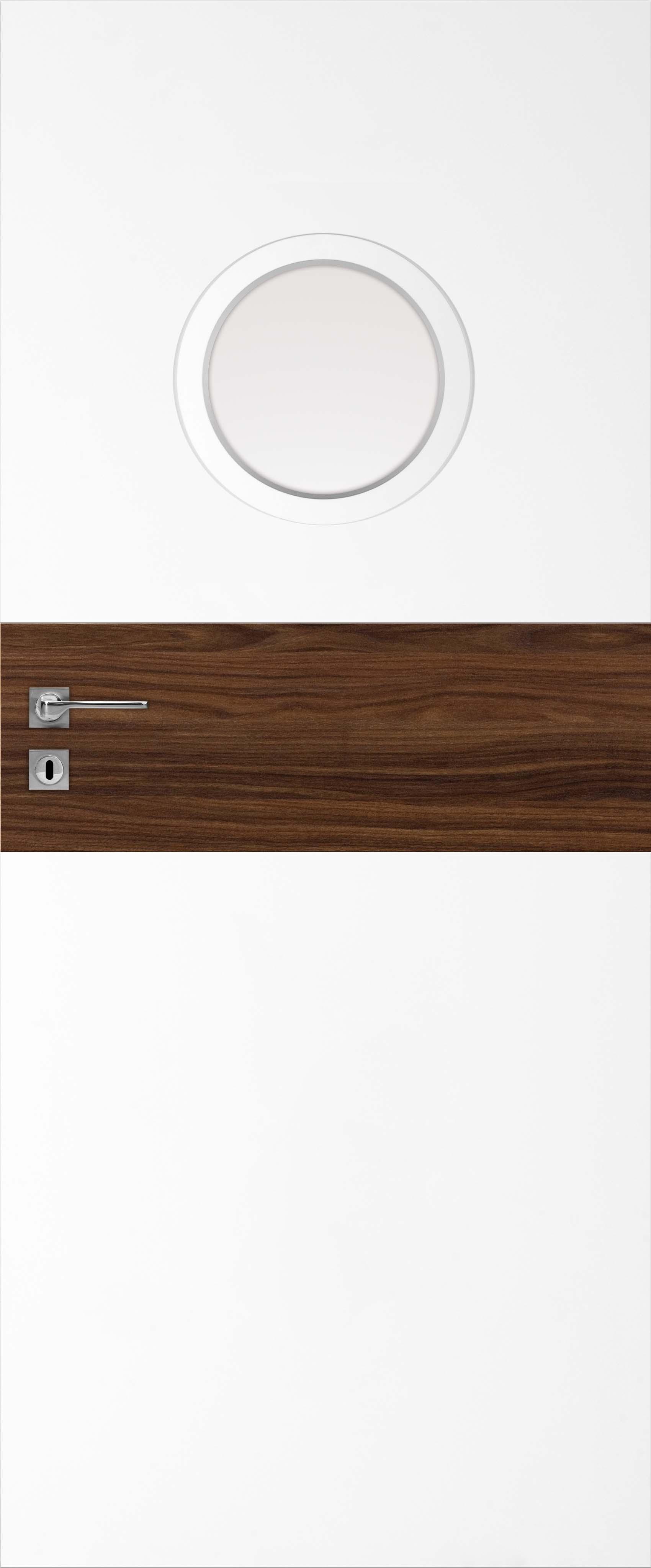 RIVIA 50, drzwi dwukolorowe, model prezentowany: biały mat/ orzech amerykański, bulaj srebrny