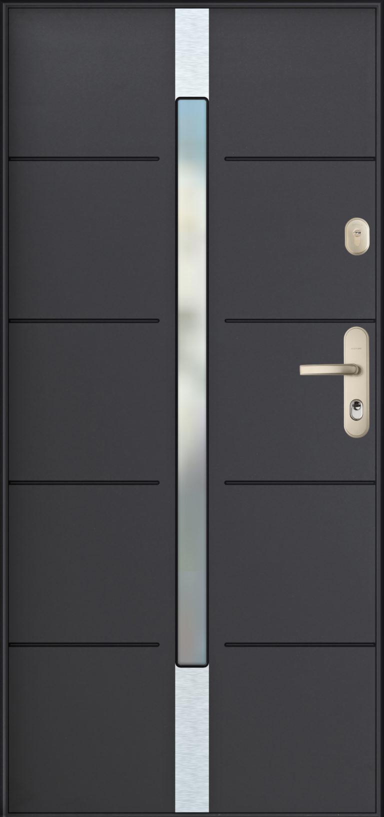 Gerda wzór PLR ROTTERDAM drzwi wejściowe antywłamaniowe klasy RC4 (wersja SX), przetłoczenia na skrzydle i szyba w centralnej części skrzydła, kolor antracyt