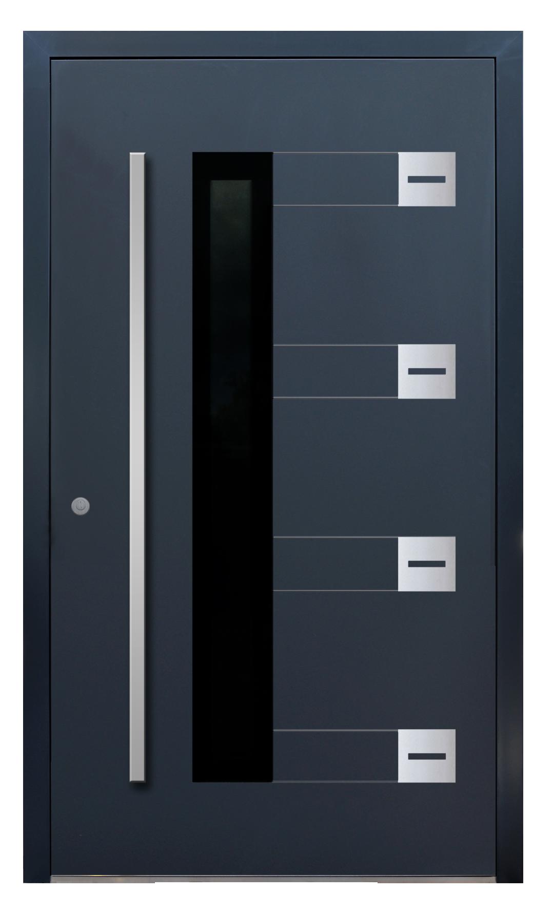 drzwi wejściowe panelowe aluminiowe-AL (15), grubość skrzydła 77 mm, ukryte zawiasy, wstawki i przeszklenia zlicowane z powierzchnią skrzydła, wkładka klasy C, drzwi na dowolny wymiar