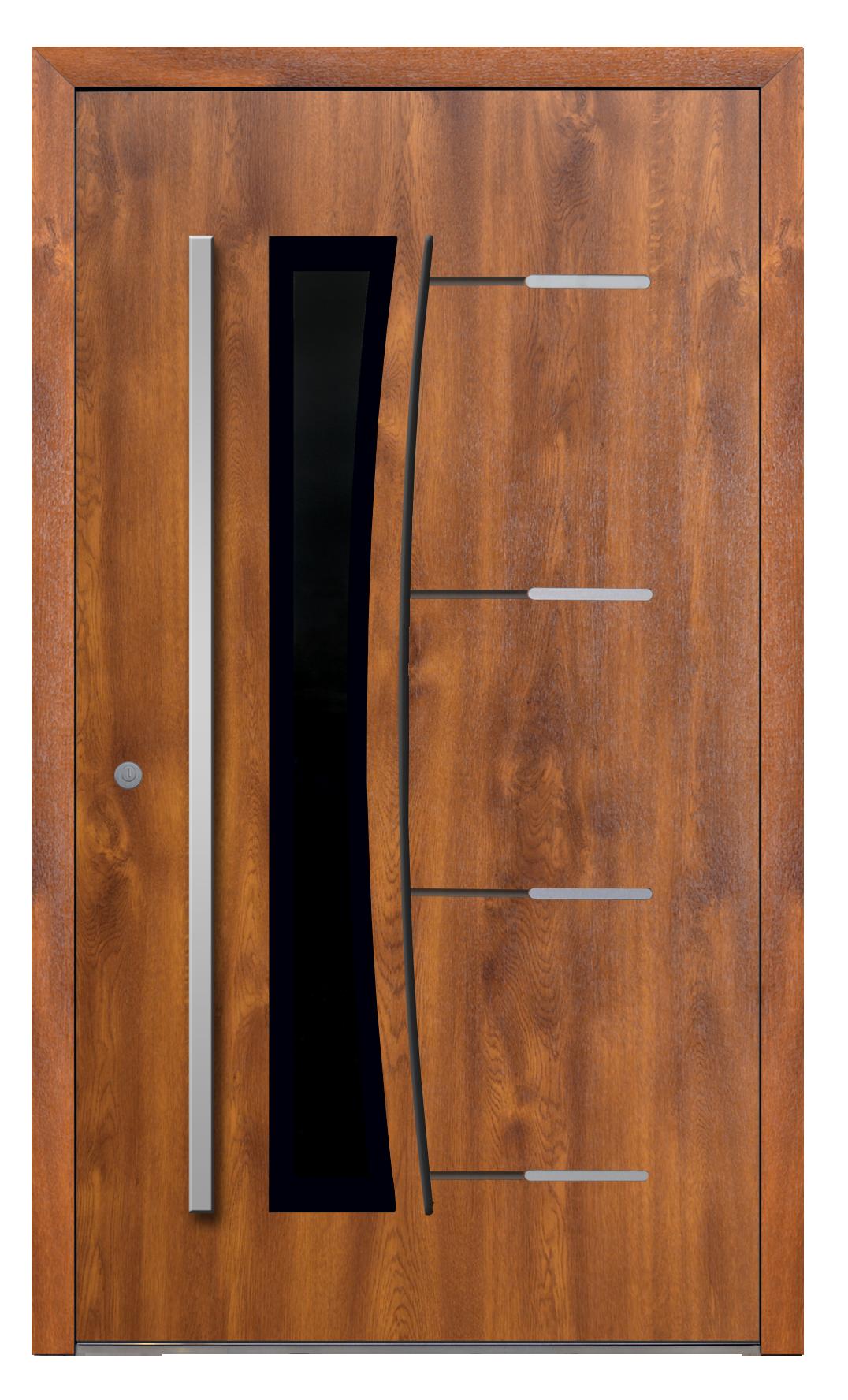 drzwi wejściowe na wymiar, aluminiowe- AL (16), okleina, zawiasy rolkowe, pochwyt do wyboru