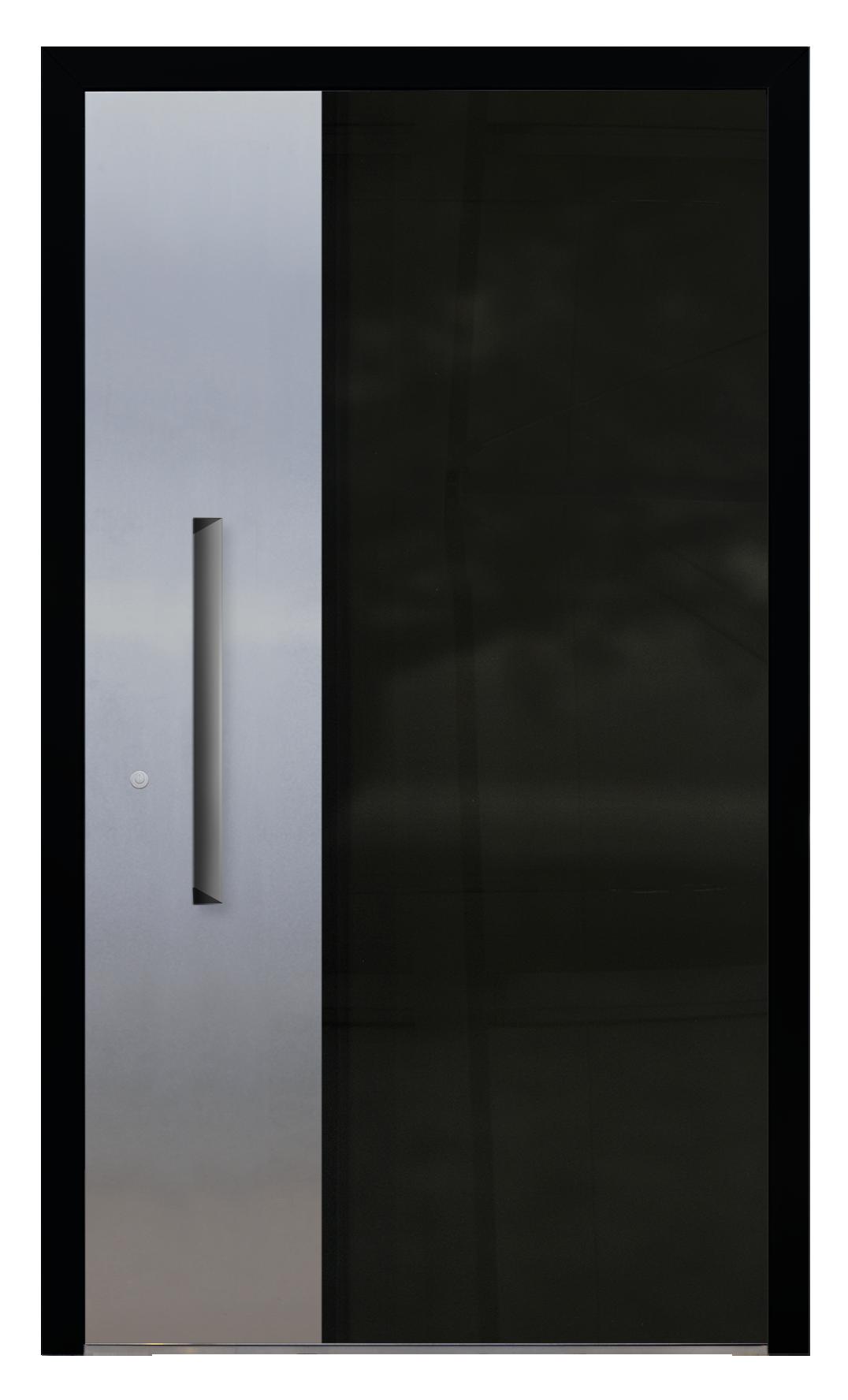 drzwi aluminiowe panelowe - AL (17), kolor czarny, aplikacja alu,ukryty pochwyt