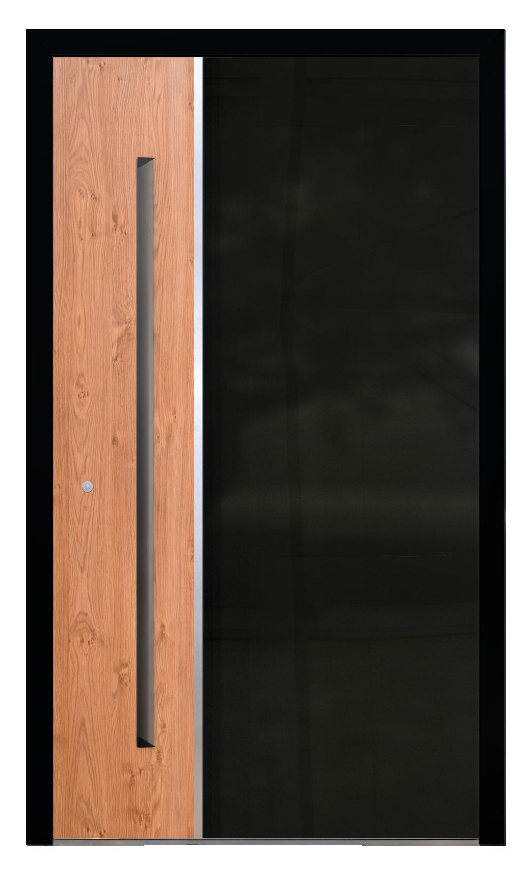 drzwi z aluminium - AL (19), kolor czarny z dekorem winchester, pochwyt długi ukryty, próg aluminiowy z przegrodą termiczną