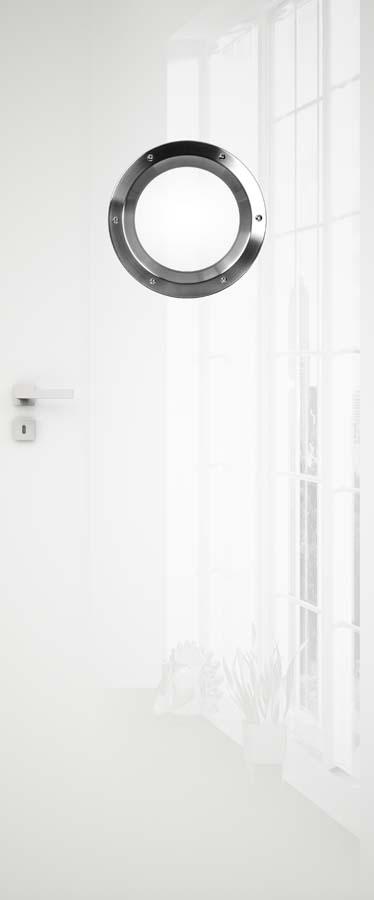 drzwi białe z bulajem, bezprzylgowe zawiasy wpuszczane, zamek magnetyczny