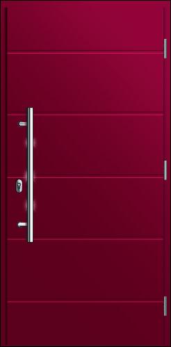 drzwi w kolorze czerwonego wina wejściowe do domu, Diplomat 0F, pochwyt krótki, frezowane zdobienia