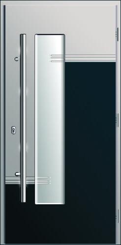 drzwi kompozytowe, wzór Diplomat 1D, drzwi z przeszkleniem i pochwytem