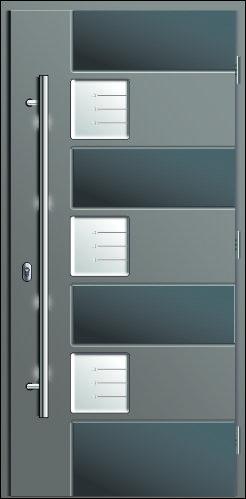 drzwi o gładkiej strukturze Smooth w dwóch kolorach szarym i antracytowym, kompozytowe wejsciowe Diplomat 1M, z trzema szybkami