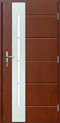 drzwi wodoodporne, o strukturze szlachetnego drewna, ramka inox zlicowana ze skrzydłem plus wąska pionowa szyba Diplomat 4V