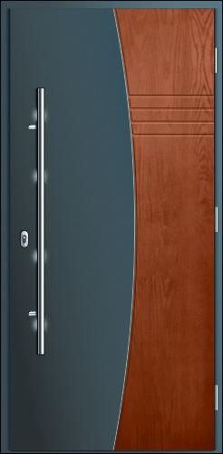 drzwi wodoodporne dwukolorowe gładka powierzchnia łączona ze strukturą drewnopodobną Diplomat B2, kolor antracyt i orzech
