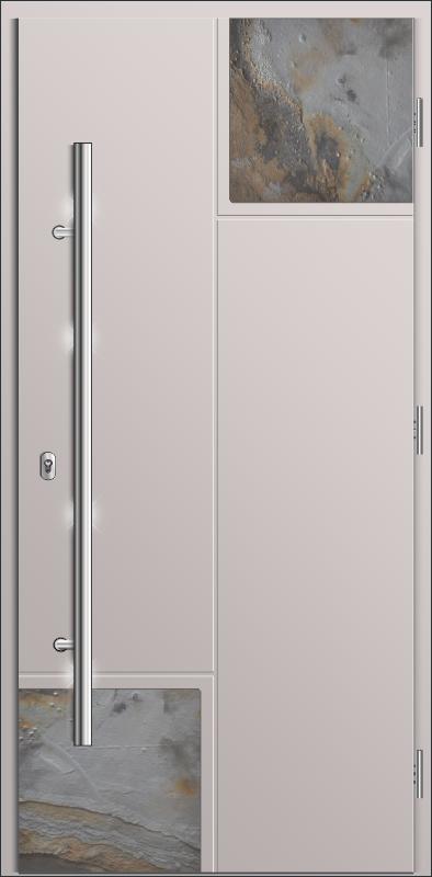 kompozytowe drzwi do domów, Diplomat B8 Stone, na skrzydle aplikacje z kamienia