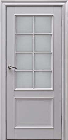 drzwi retro w kolorze szarym, szprosy na szybie