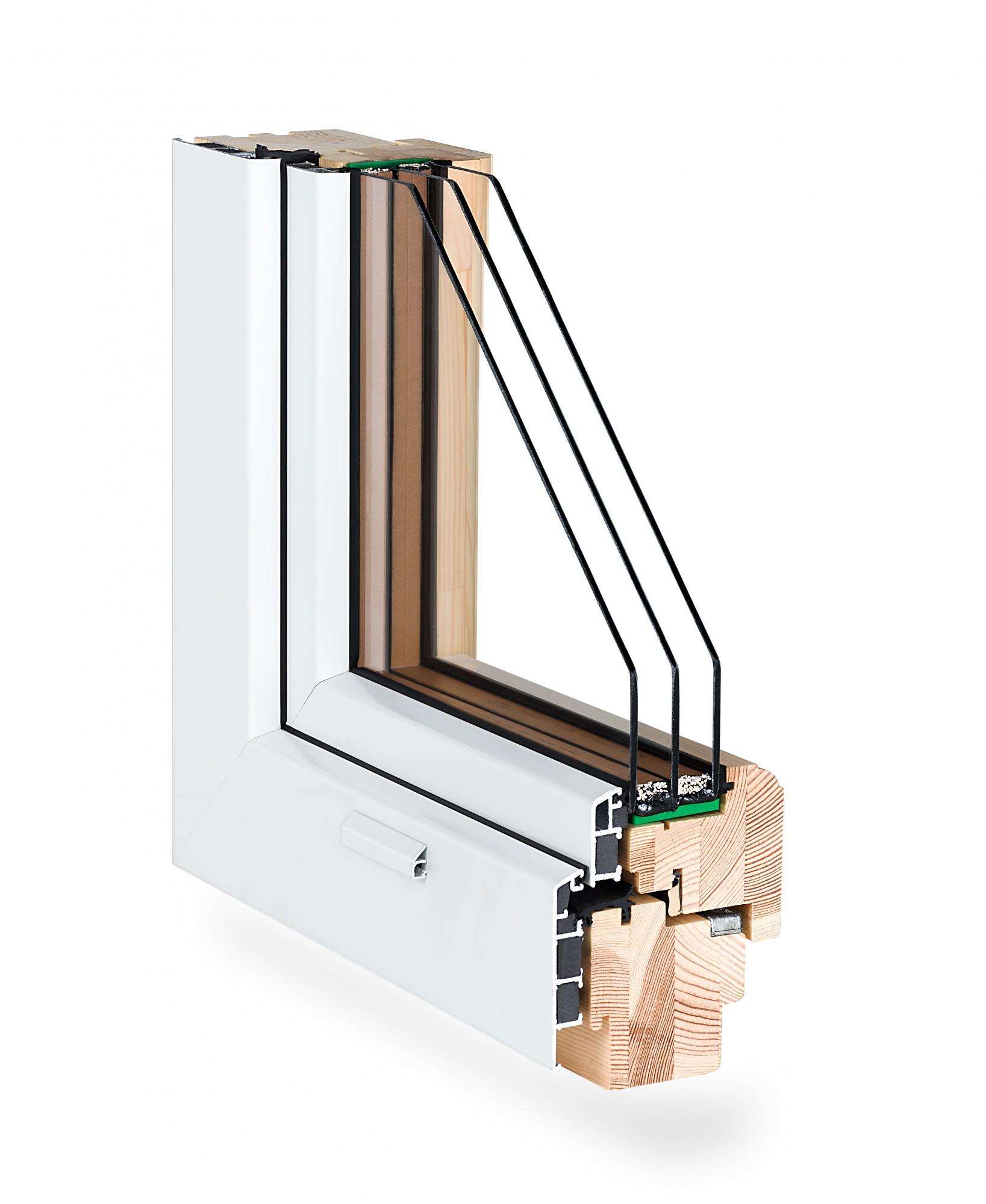 okno drewniane z powłoką aluminiową od zewnatrz