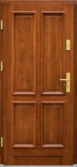 drzwi z drewna sosnowego, model Gracja, okucia w złotym kolorze