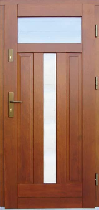 drzwi drewniane, model Helena, 2 przeszklenia ze szkła zespolonego, klamka i okucia w kolorze starego złota