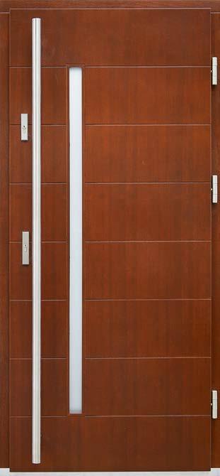 drzwi drewniane, model Henryk, wąskie pionowe przeszklenie, długi pochwyt