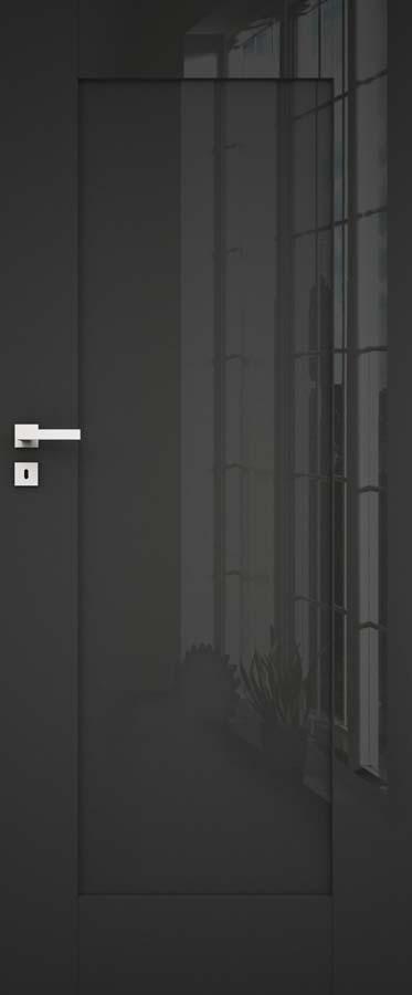 ILIS 4 Dre, drzwi oklejone laminatem połyskowym w kolorze bigio, krawędź drzwi bez przylgi, 3 zawiasy wpuszczane