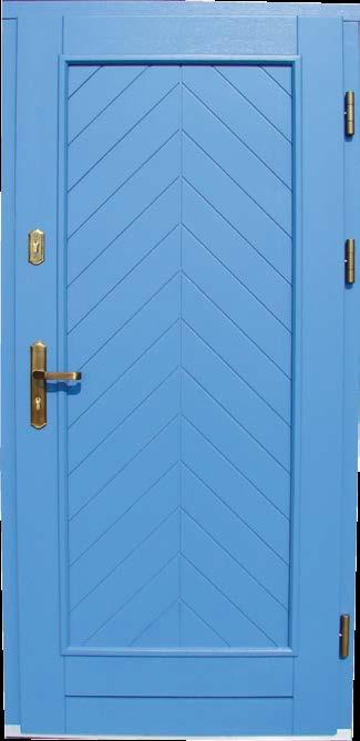 drzwi z jodełkowym wzorem, model Laura, drewno malowane na kolor niebieski