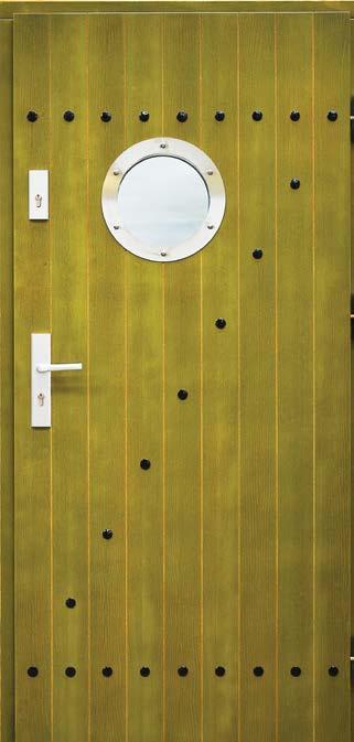 drzwi drewniane, wzór Olivier, z bulajem i okuciami w kolorze srebrnym