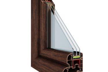 okno Optitherm w kolorze dab bagienny z pakietem trzyszybowym