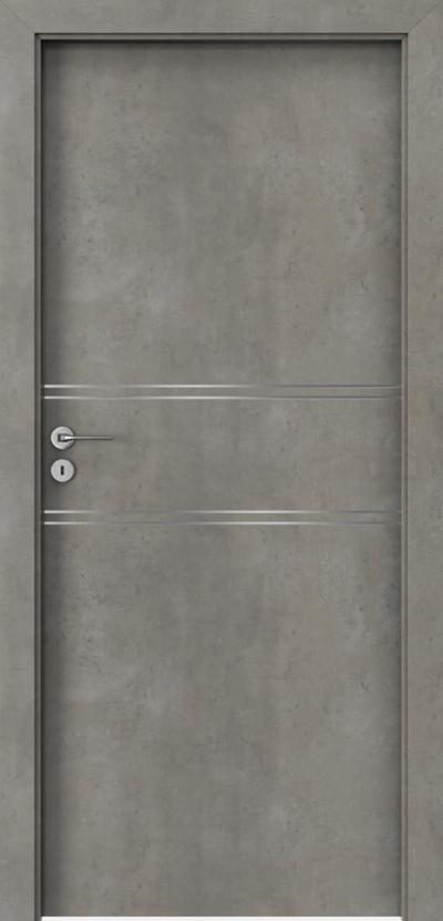 Porta Line C.1- drzwi okleinowane w kolorze beton jasny, intarsje srebrne na skrzydle