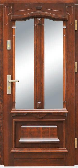 drzwi drewniane dąb, szyba mleczna antywłamaniowa, głębokie tłoczenia na skrzydle