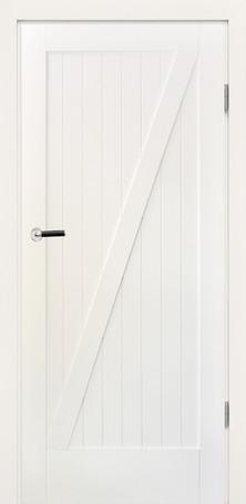 drzwi białe stylowe, ułożone podłużnie listwy drewniane na skrzydle