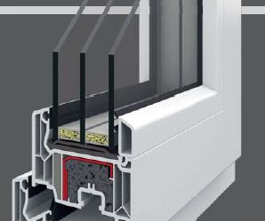 przekrój okna energooszczędnego w kolorze białym