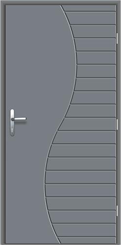 wytrzymałe drzwi wejściowe z kompozytu Diplomat-0P w kolorze szarym, frezowane zdobienia na części skrzydła