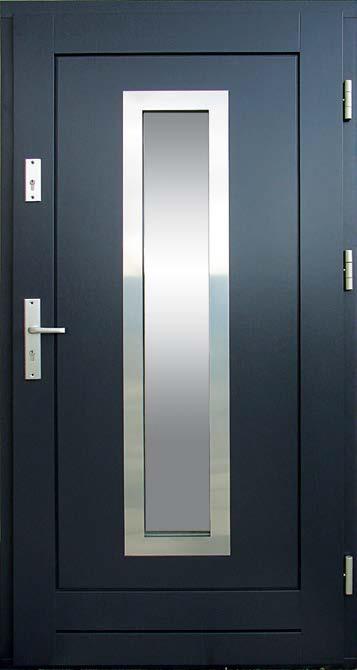 nowoczesne drzwi, wzór Wiktor, z drewna, kolor RAL antracyt 7016, ramka inox, przeszklenie szyba antywłamaniowa