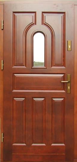 drzwi drewniane, wzór Zofia, głebokie tłoczenia na skrzydle, małe okienko w skrzydle