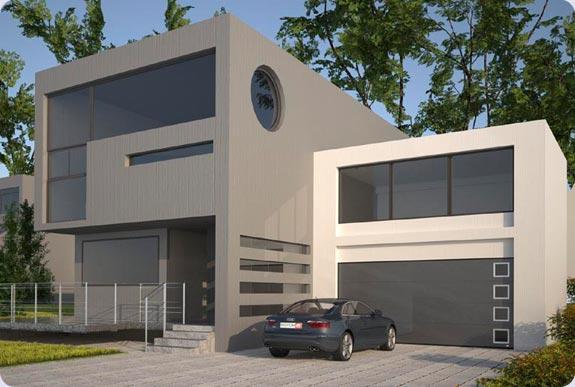 brama garażowa model Topline, brama szeroka z przeszkleniami na kurtynie, brama w kolorze antracyt