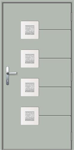 drzwi wejściowe z kompozytu Diplomat 1J, kolor szary, powierzchnia gładka, szkło witrażowe, klamka Baron w kolorze srebrnym