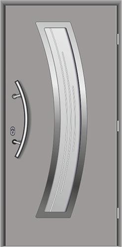 kompozytowe drzwi wejściowe do domu, Diplomat-28, drzwi w kolorze srebrnym Ral 9006, pochwyt łukowy krótki, szyba witraż