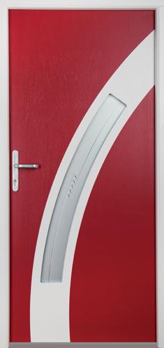 drzwi kompozytowe, kolor skrzydła czerwony rubin, Diplomat-30, szkło witraż z kryształkami Swarovski