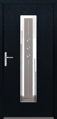 kompozytowe wejściowe drzwiw kolorze czarnym- Diplomat-4R z witrażowym przeszkleniem