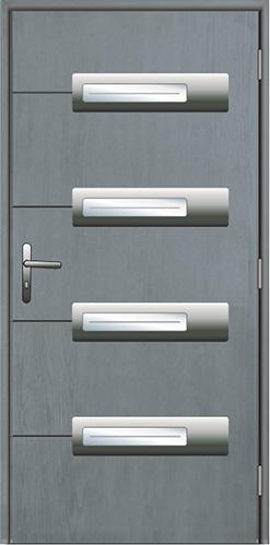 drzwi kompozytowe, struktura drzwi Real Wood w kolorze szarym, ramka inox licowana z powierzchnią skrzydła Diplomat-52, frezy na skrzydle