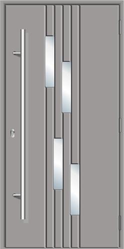 trwałe drzwi wejściowe z kompozytu Diplomat-5J, kolorze stalowym, powierzchnia skrzydła gładka, szyba bezpieczna 4 małe przeszklenia, drzwi z pochwytem długim