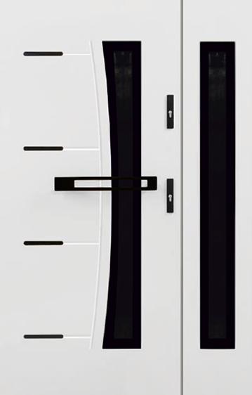 drzwi stalowe dwuskrzydłowe Perfect Czarny, kolor biały laminat, pochwyt S5 czarny