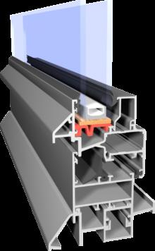 przekrój profilu z aluminium Econoline do zastosowania tylko wewnątrz budynku