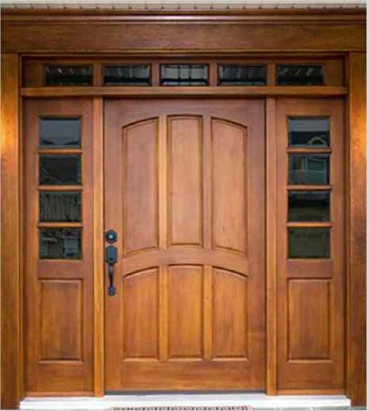 stylowe drzwi z drewna, skrzydło szerokie, dwa naświetla boczne częściowo przeszklone i wąskie naświetle górne
