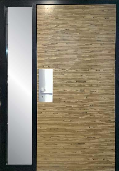 drzwi jednoskrzydłowe, doświetle boczne stałe- szyba mleczna, skrzydło drzwiowe fornirowane, ościeżnica malowana