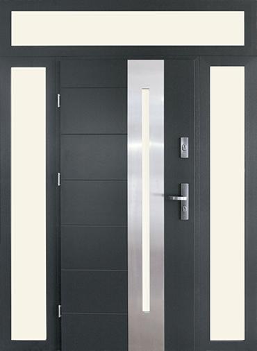 drzwi stalowe naświetla 2 boczne i górne, 13s1 inox, kolor antracyt, szkło bezpieczne
