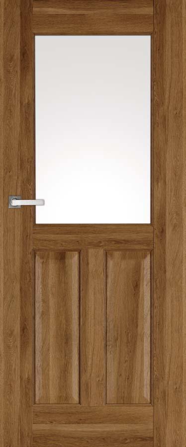 NESTOR 2, kolor okleina dąb polski, drzwi klasyczne przeszklenie-szyba opcja drzwi malowane na kolor ecru, latte, popielatymatowa