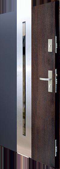 drzwi stalowe Duo-color, antracyt + orzech ciemny, zamki wielopunktowe, podwójne uszczelki
