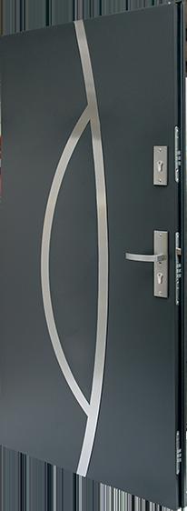 drzwi stalowe Plus 11-6 antywłamaniowe kl-3, kolor antracyt, zamki z wkładkami klasy C, klamka atest klasy 3