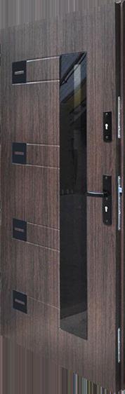 drzwi stalowe Plus Perfect 1, kolor dąb ciemny, szyba hartowana barwiona w masie, pakiet 3 szybowy