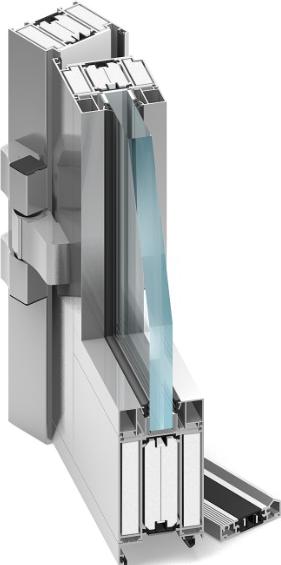 przekrój stolarki wykonanej z aluminium, ognioodpornej z przeszkleniem ppoż, widoczne w profilu wypełnienia termiczne