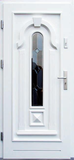 drzwi z drewna, szkło witrażowe, współczesne okucia, zamek listwowy wielopunktowy