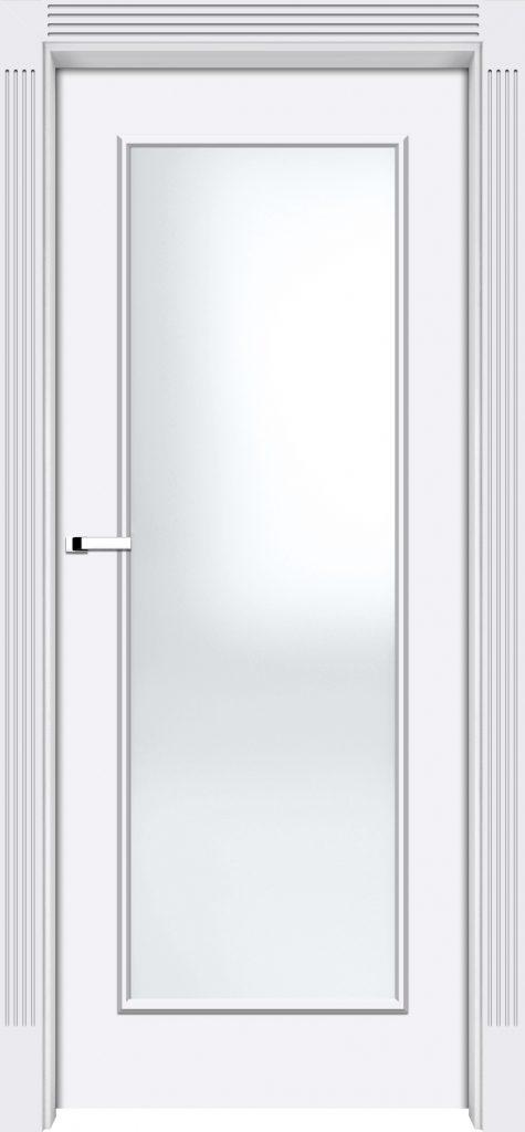 stylowe drzwi Interdoor Fresa, drzwi białe, przeszklone, ozdobne frezowane skrzydła